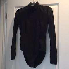 Black Bodysuit Illusion Top & Sleeves Spiegel Med Size medium.  Has two set of snaps at the bottom for adjustable fit.  Zip back.  The front of the top is a sweetheart look and I tried to show the illusion part with my hand in the last photo.  Perfect condition.  Never worn. Spiegel Tops