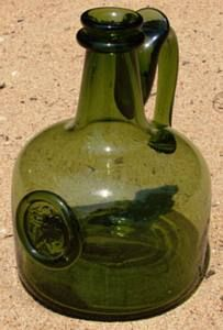 Green Wine Decanter: During the century, Colonial American wine bottles with attached handles went into decline never to be seen again. Antique Glass Bottles, Glass Jars, Wine Bottles, Wine Decanter, Glass House, Blown Glass, Seals, Ancestry, 18th Century