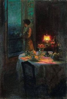 Young Woman at her Window ~ Edouard Cortes ~ Classic Paintings, Old Paintings, Beautiful Paintings, French Paintings, Art Amour, Bel Art, Arte Van Gogh, Art Ancien, Art Et Illustration