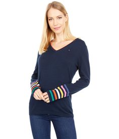 Ivy Multi Stripe Sleeves – Simple Craze Netball Quotes, Pullover Designs, Neck Collar, Ivy, Hemline, Tommy Hilfiger, Long Sleeve, Sweaters, Sweater