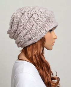 Slouchy handmade knitted hat cap in Beige