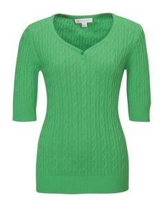 Womens 100% Cotton Cable Elbow Sleeve Sweater Tri mountain LB921