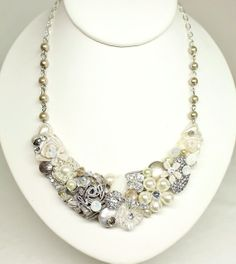 Champagne Bib necklaceVintage Inspired Statement by BrassBoheme, $75.00