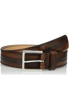 Allen Edmonds Men's Hackett Ave Belt, Walnut Brushoff, 044 Standard ❤ Allen Edmonds Men's Accessories
