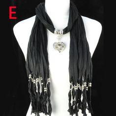 Handmade Black Jewel Beaded Necklace Scarf with Cemeo Heart Pendant, NL-1220E