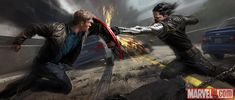 Captain America faces the Winter Soldier in concept art from Marvel's Captain America: The Winter Soldier by Ryan Meinerding | Marvel.com