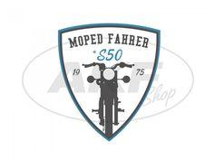 """Aufkleber - """"Moped Fahrer #S50"""" Blau/Weiß/Schwarz, Wappen - NUR BEI UNS! #simson #s50 #aufkleber #akf #exklusiv"""