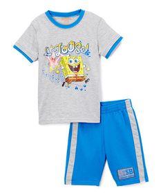 149f00610 Children's Apparel Network Gray & Blue Spongebob Squarepants Tee & Shorts -  Boys
