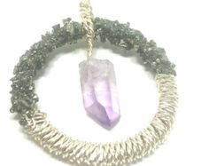 Raw Dangling Vera Cruz Amethyst in Wrapped Silver Plated Wire Pendant Adorned With Crushed, Sealed Pyrite - Edit Listing - Etsy