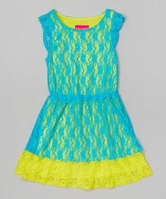 Love this Turquoise & Lime Lace Dress - Girls by Tobby's Angels on #zulily! #zulilyfinds
