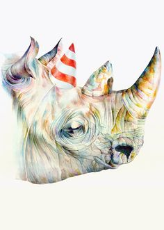 Brandon Keehner. Rainbow Rhino with Birthday Hat.