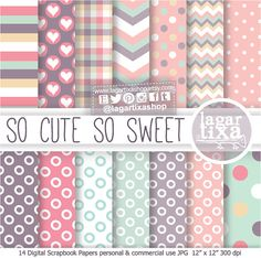 Digital Paper Cute Colors Pastel Pale Pink Turquoise Violet Purple Polka Baby girl Chevron invitations labels favour tags blog scrapbooking