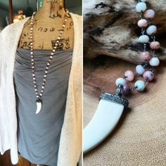Genuine Pave Diamond Horn Pendant and Pink Peruvian Opal Necklace / Long Boho Gemstone Necklace