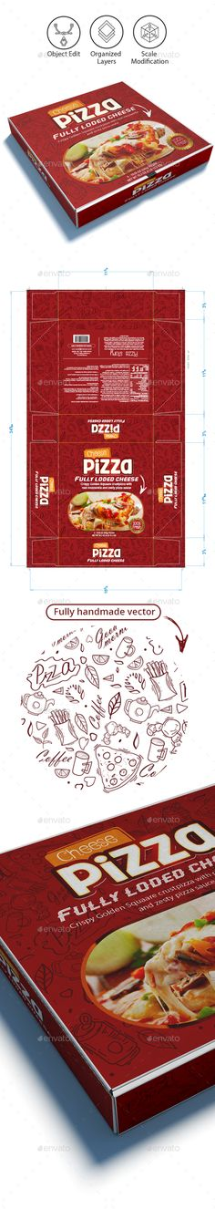 #Pizza Box #Template - #Packaging Print Templates Download here: https://graphicriver.net/item/pizza-box-template/18714623?ref=alena994