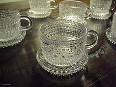 Kastehelmi kahvikuppisarja Oiva Toikka 6kpl lasinalusilla