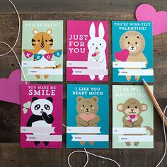 These adorable Kid's Valentine's day cards will be perfect to go along with a little treat for your child's school Valentine's Day. #valentine