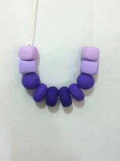 Handmade polymer clay beaded necklace ombre purple by SiennaandKip, $15.00