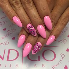 by Magdalena Żuk Indigo Educator Wrocław :) Follow us on Pinterest. Find more inspiration at www.indigo-nails.com #nailart #nails #indigo #pink #candy #superwomen