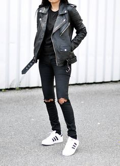 littleblackjean adidas streetstyle distresseddenim allblackeverything kicks blogger style jbrand j+brand