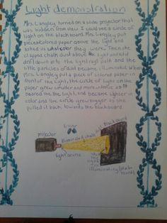 Waldorf ~ 6th grade ~ Physics: Light ~ Demonstration ~ main lesson book