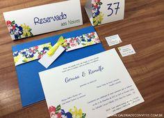 Identidade visual casamento. Modelo 41: Identidade visual composta por: convite de casamento, cartão de reserva de mesa, numeração de mesa, convitinho individual e cartão de presentes