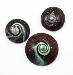 Handmade Polymer Clay Cabochon Beads-3 Bead Set-25mm and 18mm-Brown Aqua Mint Swirl Bead Set-Milky Way-PA 8905 by StudioStJames on Etsy