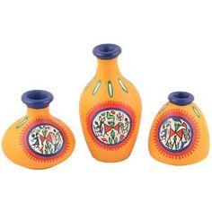 ExclusiveLane Terracotta Warli Hand Painted Pots Yellow Set Of 3