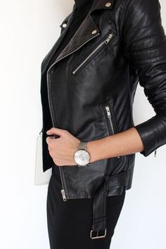 belted leather jacket. bodycon jersey dress | fall style