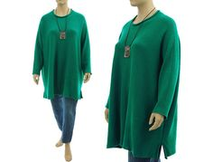 Oversized knitted sweater in emerald long and от classydress