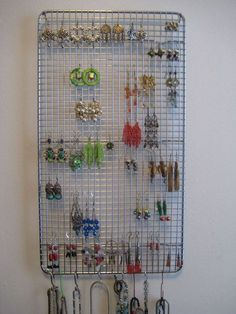 DIY jewelry storage out of a repurposed cooling rack