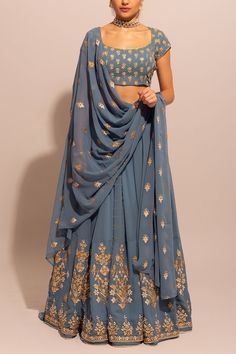 BlueGrey gold Gota Patti budget Lehenga. Click on picture to see lehenga price. #Frugal2Fab Indian Fashion Dresses, Indian Bridal Outfits, Indian Bridal Fashion, Dress Indian Style, Indian Designer Outfits, Pakistani Outfits, Bridal Dresses, Indian Lehenga, Indian Gowns