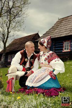 Slovak Highlanders Traditional Folk Attire - A Beautiful Bride in a Kroj of Her Region