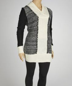 Take a look at this Black & White Marled Shawl Neck Sweater Dress - Plus by Extra Touch on #zulily today!