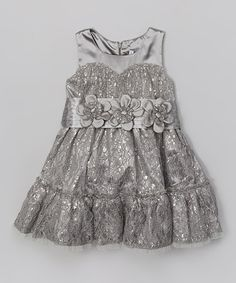 Another great find on #zulily! Silver Lace Tiered Dress - Toddler & Girls #zulilyfinds