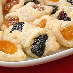 Traditional Hungarian cookies made from cream cheese dough and filled with various flavors of pastry filling