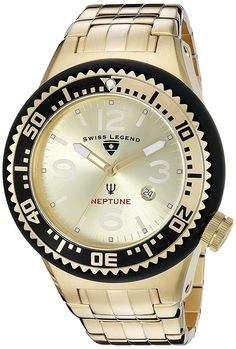 Swiss Legend Men's 21819P-YG-10 Neptune Force Analog Display Swiss Quartz Gold Watch >>> Check this awesome watch by going to the link at the image.