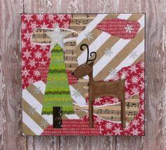 Reindeer-Original Mixed Media Art on 8 X 8 by BrightEyedLucy