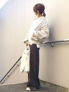 カジュアルすぎる通勤服。 太めなアームと 切り替えがお気に入りな キルティングMA1❤︎