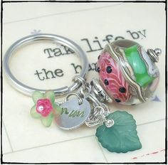 Handmade key chain with a cute artisan made lampwork watermelon bead. Made by DzignbyJamie
