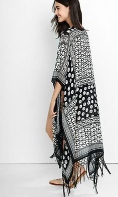 mixed black and white print cover-up