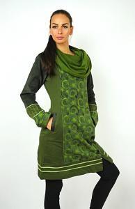 Dámská mikina - tunika s límcem - zelená