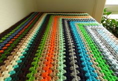 Colorful Granny Square Afghan Blanket 45x45 by Phoenixsmiles