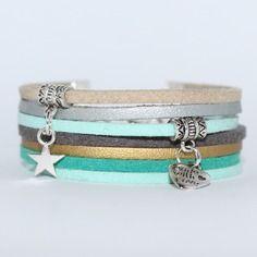 Bracelet suédine tons pastel, aspect daim et cuir, beige doré vert gris menthe à l'eau - femme