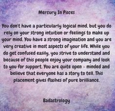Mercury in Pisces   #Zodiac #Astrology For related posts, please check out my FB page:  https://www.facebook.com/TheZodiacZone