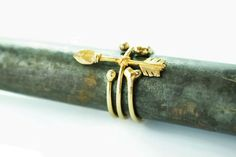 Bohemian ring hunter bow and arrow ring stacking ring boho gypsy style in solid brass www.makoy.co.il