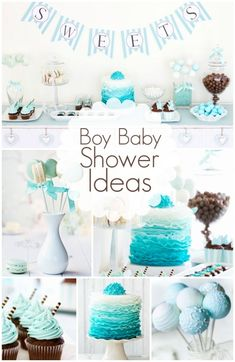 I really like the cake and cupcake. The gradient and color is less of the typical baby blue and more towards the teal color I was to stick with.