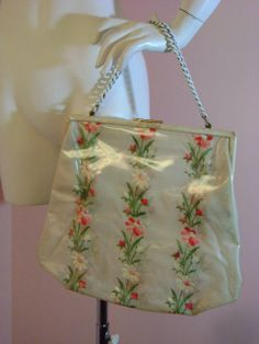 60s purse vintage 1960s PINK EMBROIDERY