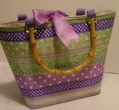 Purple and Green Grosgrain ribbon handbag