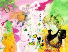 butterfly elaine, watercolours, pencil sketches & collage