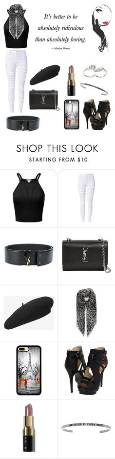 """""""Marilyn"""" by fairytales22 ❤ liked on Polyvore featuring Yves Saint Laurent, Lulu Guinness, Promiscuous, Bobbi Brown Cosmetics and Apples & Figs"""